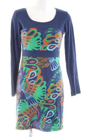 Surkana Langarmkleid blau-grün abstraktes Muster Casual-Look