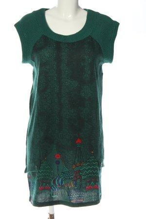 Surkana Strickkleid grün grafisches Muster Casual-Look