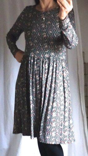 Surkana, süßes Kleid aus weichem Jersey, gemustert, made und designed in Spain, gemustert, in schwarz, natur, rötlich braun, gezogner Rock, Viskose, knieumspielend bei 1,65 m, NEU, ungetragen, Gr. S, Gr. 36/38