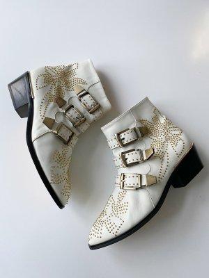 Susanna Boots Schuhe weiß/offwhite Leder goldene Nieten 37
