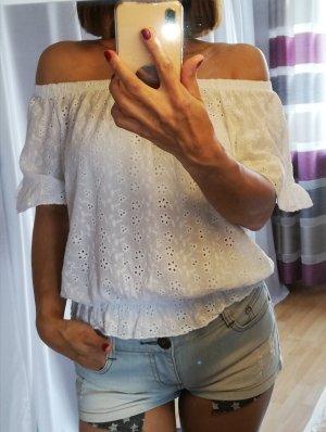 SusyMix Carmen Top 34/36 schulterfrei offshoulder 100% Baumwolle weiß blusen