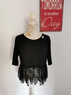 SusyMix Damen Designer Shirt Kurzarm Spitzenshirt schwarz Größe 40