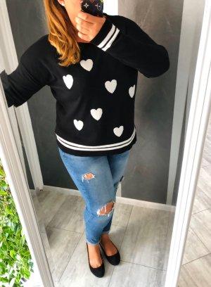 SuZa Sweter oversize czarny-biały
