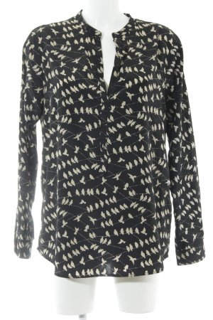Suzanna Langarm-Bluse schwarz-creme Animalmuster schlichter Stil