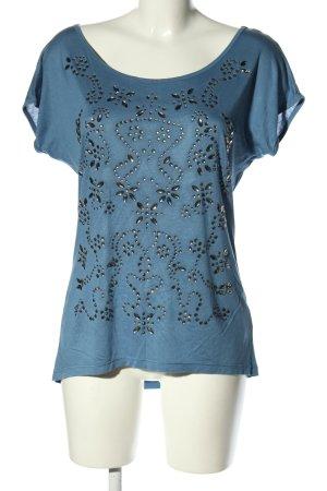 Suzanna Oversized Shirt blau Motivdruck Casual-Look