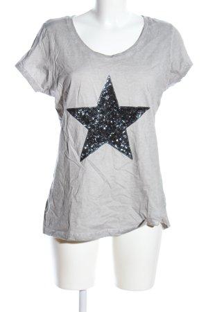 Suzanna T-Shirt hellgrau-schwarz Motivdruck Casual-Look