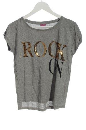 Suzanna T-Shirt hellgrau-goldfarben meliert Casual-Look
