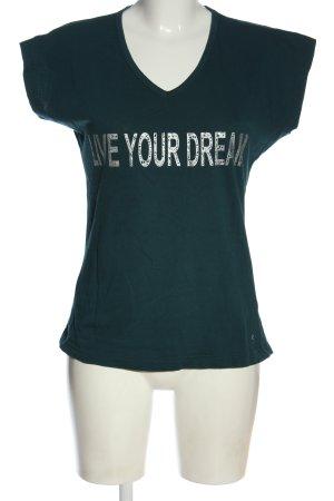 Suzanna V-Ausschnitt-Shirt türkis-weiß Schriftzug gedruckt Casual-Look