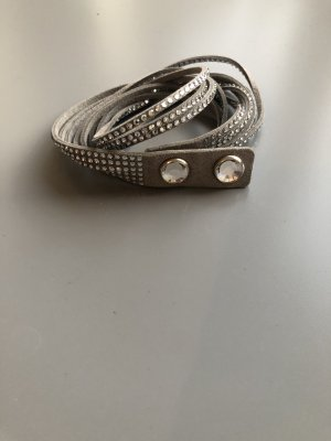 Swarovski Leather Bracelet silver-colored-grey