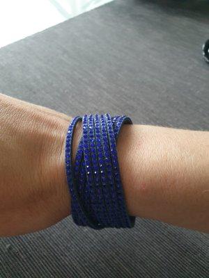 Swarovski Armband Leder blau silber