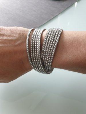 Swarovski Armband Leder grau silber