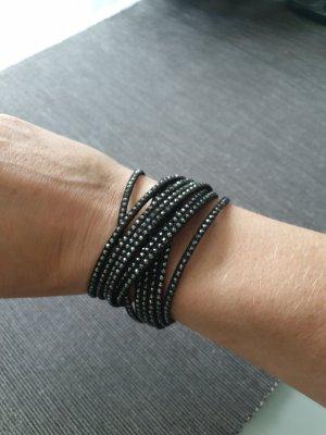 Swarovski Armband Leder schwarz silber