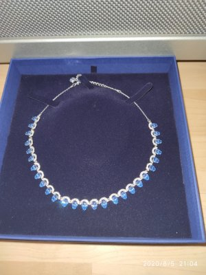 Swarovski Collar estilo collier color plata-azul celeste