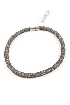 Swarovski Halskette hellgrau-braun abstraktes Muster Casual-Look
