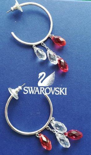 Swarovski Creolen in Silber-Color mit geschliffenen Kristallen in Weiss und Rot