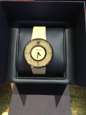 Swarovski Horloge met lederen riempje wit-zilver
