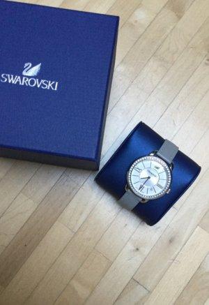 Swarovski Horloge met lederen riempje zilver-lichtgrijs