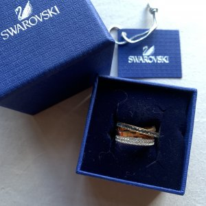 Swarovski Dynamic Ring Gr 52 kristall gold silber vintage retro