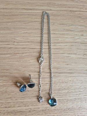 Swarovski Srebrny łańcuch srebrny-niebieski