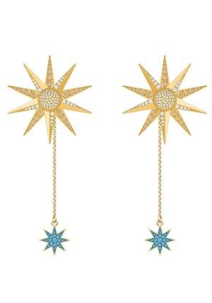 Swarovski Lucky Goddess Ohrringe Sonne Stern 2in1 weiß bunt gelbgold Trend Neu
