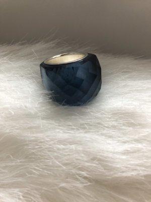 Swarovski Anillo de plata azul oscuro-color plata