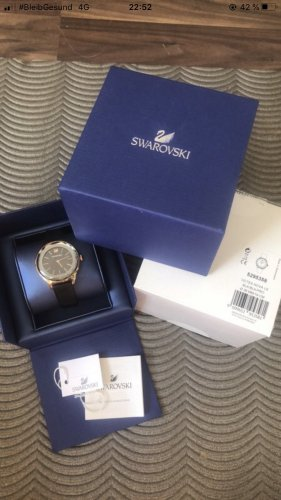 Swarovski Watch With Leather Strap black-gold-colored
