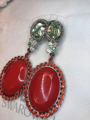 Swarovski Clip d'oreille rouge-vert clair