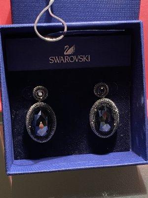 Swarovski Pendientes de cuentas negro-color plata