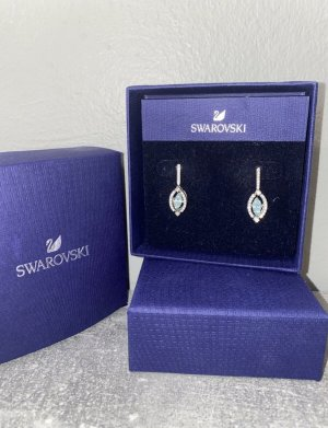 Swarovski Ohrringe Silber, blau rhodiniert