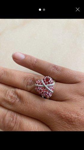 Swarovski Statement Ring red-silver-colored