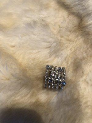 Swarovski Anillo de cuentas color plata metal