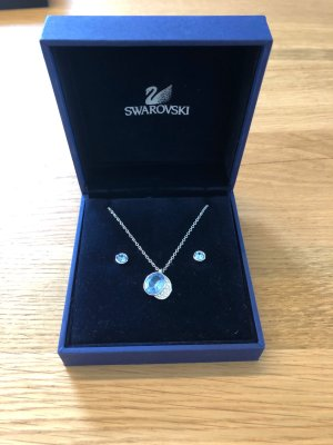 Swarovski Necklace azure-silver-colored real silver