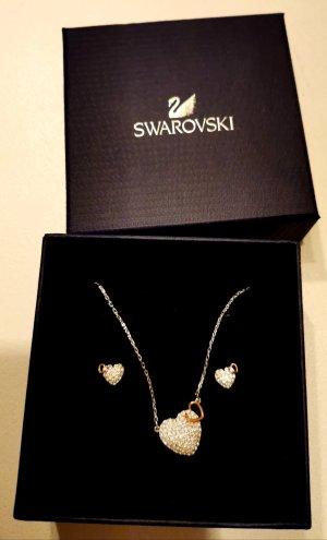 Swarovski Set Halskette Anhänger Ohrstecker Herz