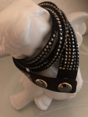 Swarovski Bracelet dark brown-black brown leather
