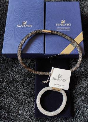 Swarovski Stardust Armband+ Halskette, schwarz weiß, Gr.S, Magnetverschluss, inkl. Box und Etikett