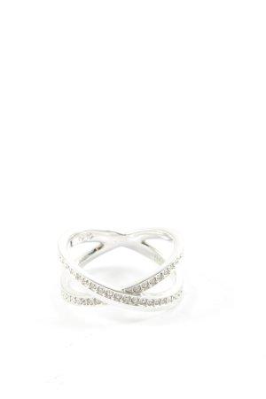 Swarovski Anillo de cuentas color plata elegante