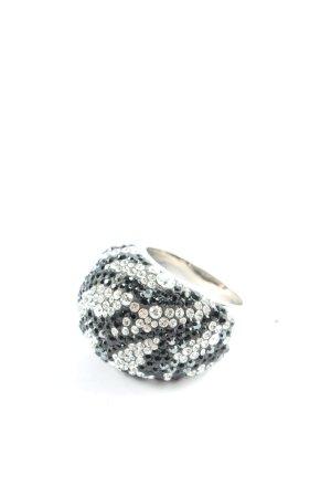 Swarovski Anillo de cuentas color plata-negro elegante