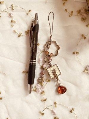 Swarovski Tasche oder Handy Schmuck  silberfarbig mit rosa, rot und Weiß Stein