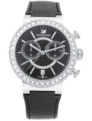 Swarovski Horloge met lederen riempje zwart