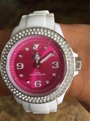 Swatch Analoog horloge wit-framboosrood