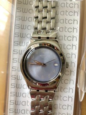 Swatch Watch With Metal Strap azure-silver-colored