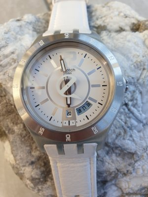 Swatch Watch With Leather Strap white-light grey