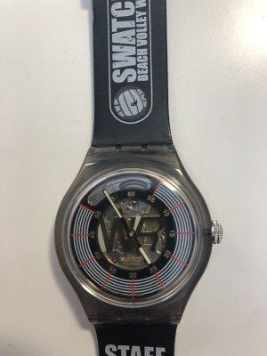 Swatch Zegarek automatyczny czarny Tkanina z mieszanych włókien