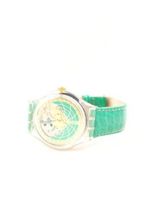 Swatch Uhr mit Lederarmband türkis-braun Leomuster Business-Look
