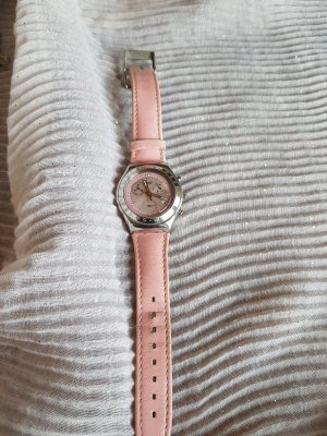 Swatch Watch With Leather Strap light pink