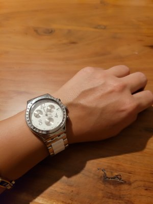 Swatch Watch With Metal Strap white-silver-colored