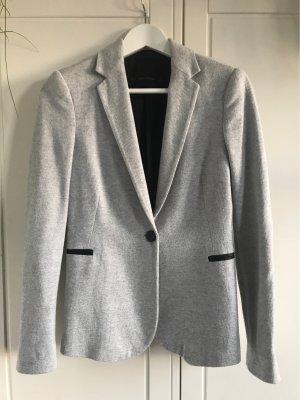 Zara Basic Blazer de tela de sudadera gris claro-negro