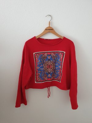 Sweat cropped kurz rot Pullover Sweatshirt blau Muster Print abstrakt Mandala geometrisch m medium
