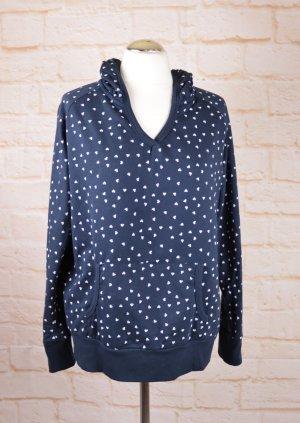 Sweat Hoodie Pullover Größe L 40 Dunkelblau Weiß Herz Muster Kapuze Pulli