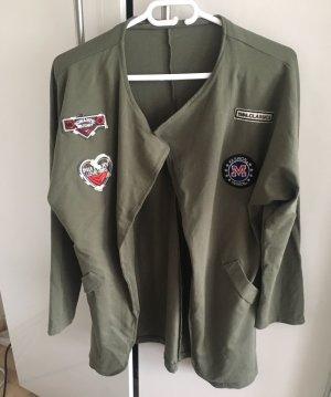 Sweat Jacke mit patches (Oliv) von Made in italy